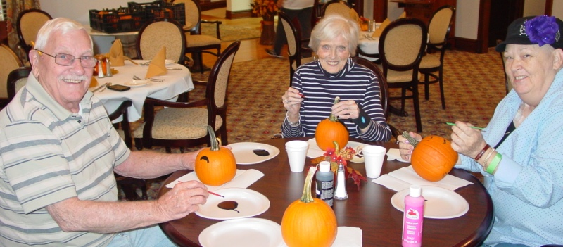 Pumpkin Painting at The Rockwood Senior Living in Webster Groves